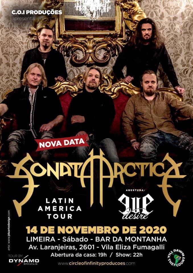 Ingresso Show Sonata Arctica em Limeira em 14 de novembro
