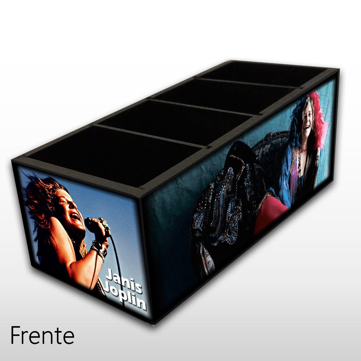 Janis Joplin - Porta Controles em Madeira MDF - 4 Espaços - Mr. Rock