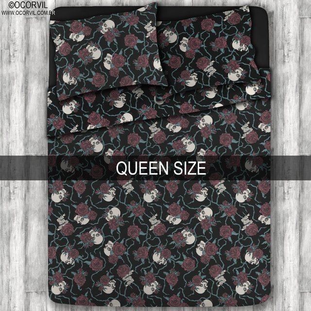 Jogo De Lençol De Caveira Rosas Vermelhas Queen Size