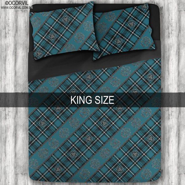 Jogo De Lençol De Caveira Xadrez Celta Azul King Size