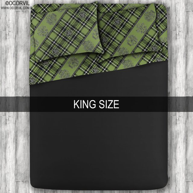 Jogo De Lençol De Caveira Xadrez Celta Verde Preto King Size