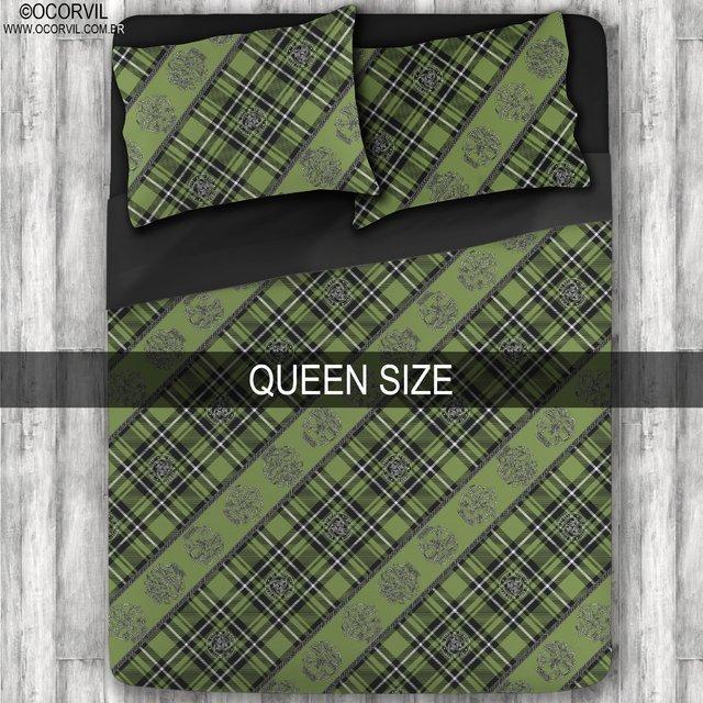 Jogo De Lençol De Caveira Xadrez Celta Verde Queen Size