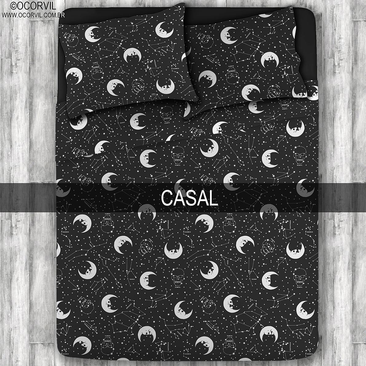 Jogo De Lençol De Lua Caveira E Estrelas Casal