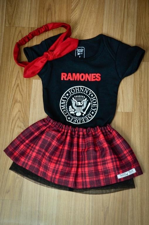 Kit RAMONES Menina 3 peças - body , saia e laço regulável
