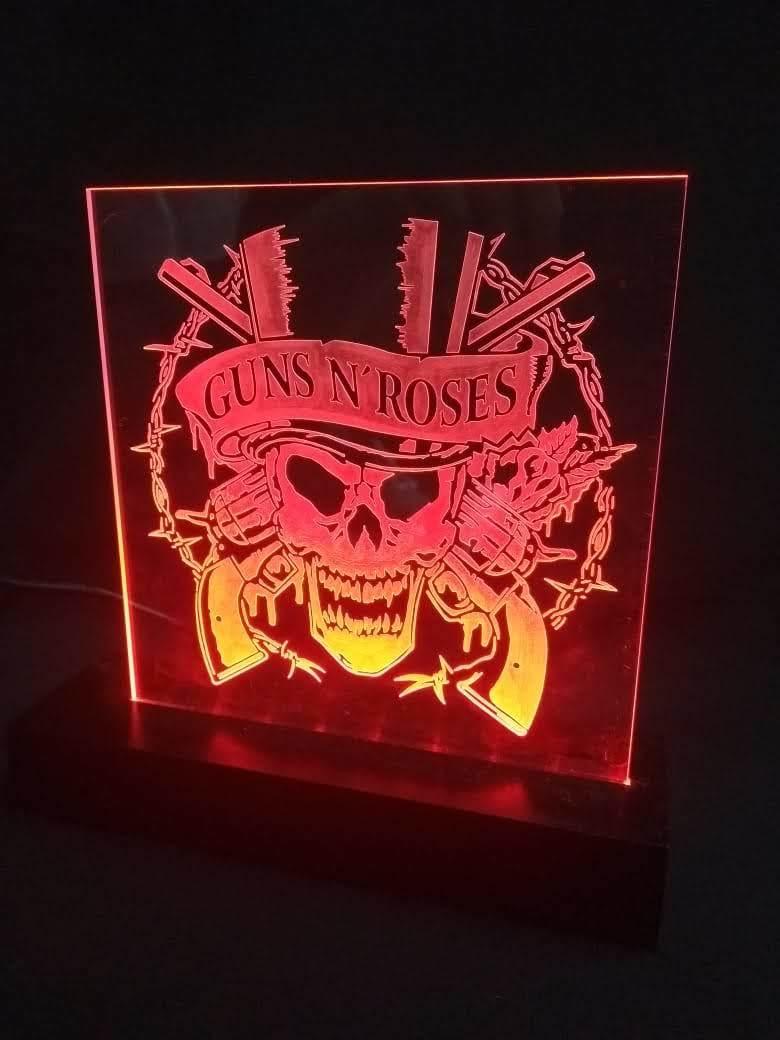 Luminária LED em Acrílico  Bandas - Guns N' Roses