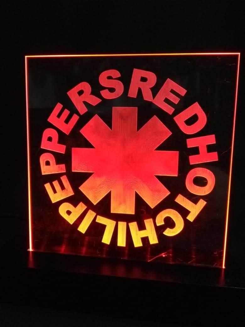 Luminária LED em Acrílico  Bandas - Red Hot Chili Peppers