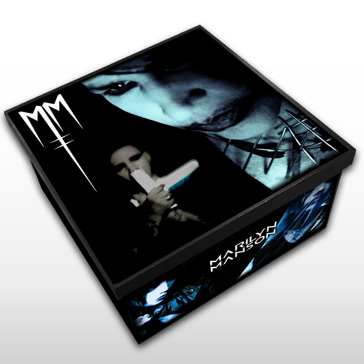 Marilyn Manson - Caixa Organizadora em Madeira MDF - Tamanho Médio - Mr. Rock