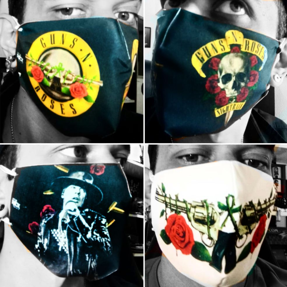 Máscara de Proteção Anatômica Guns n' Roses - Kit 4 Unidades