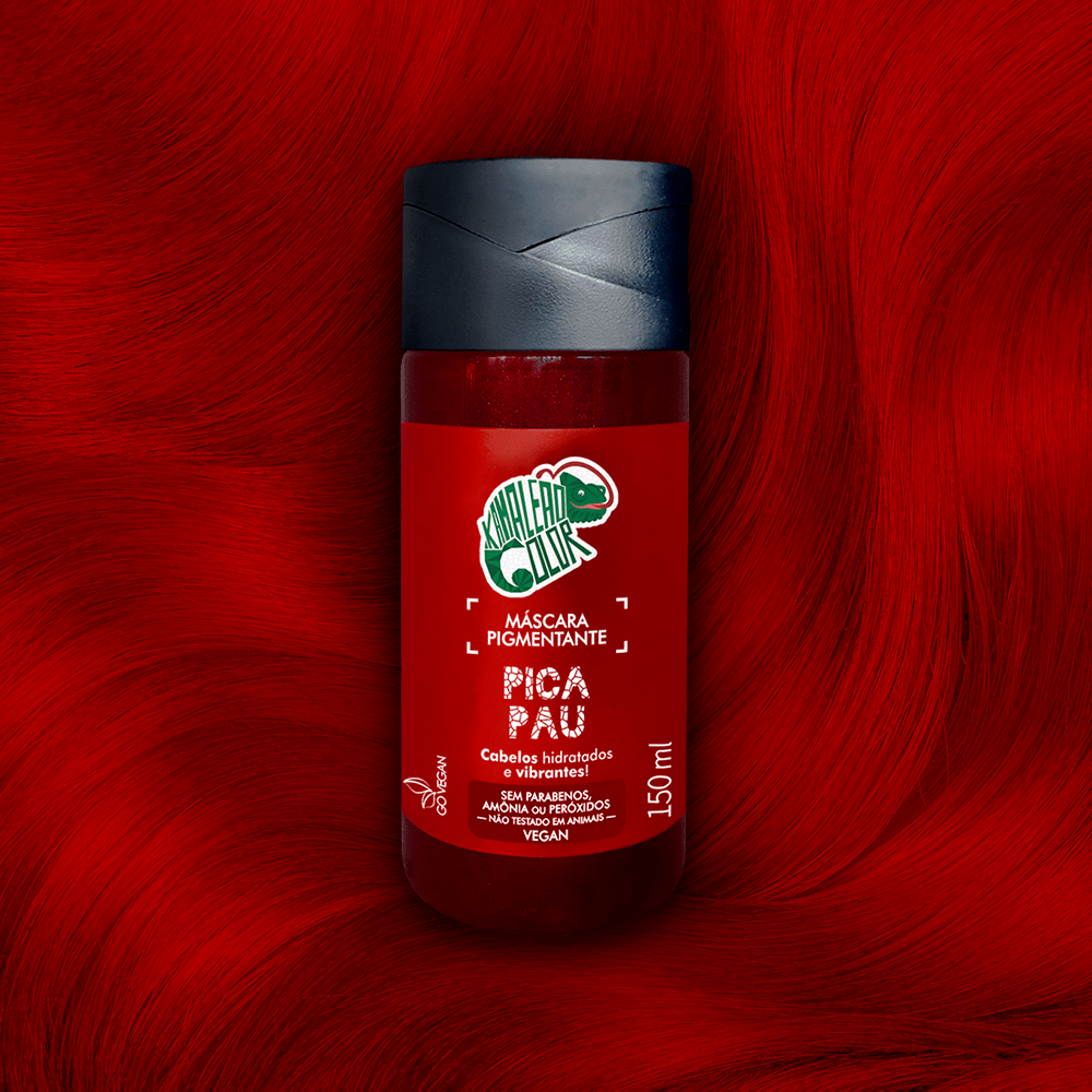Máscara Pigmentante Kamaleão Color Pica Pau  Vermelho intenso e vibrante 150ml