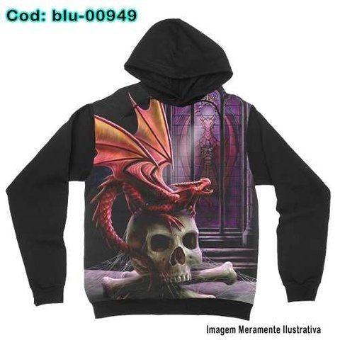 Moletom Dragão Skull Gótico com bolsos e capuz