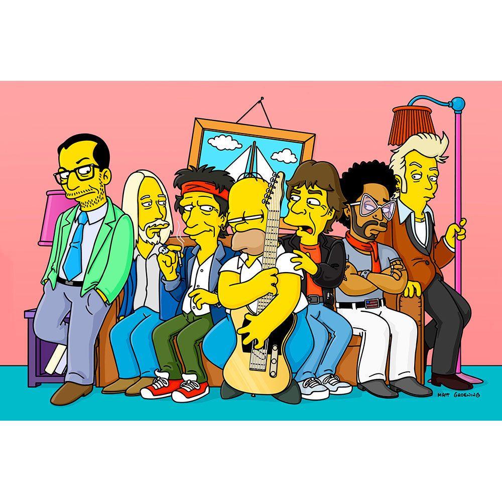 Placa Decorativa Planeta Decor Astros do Rock Simpsons