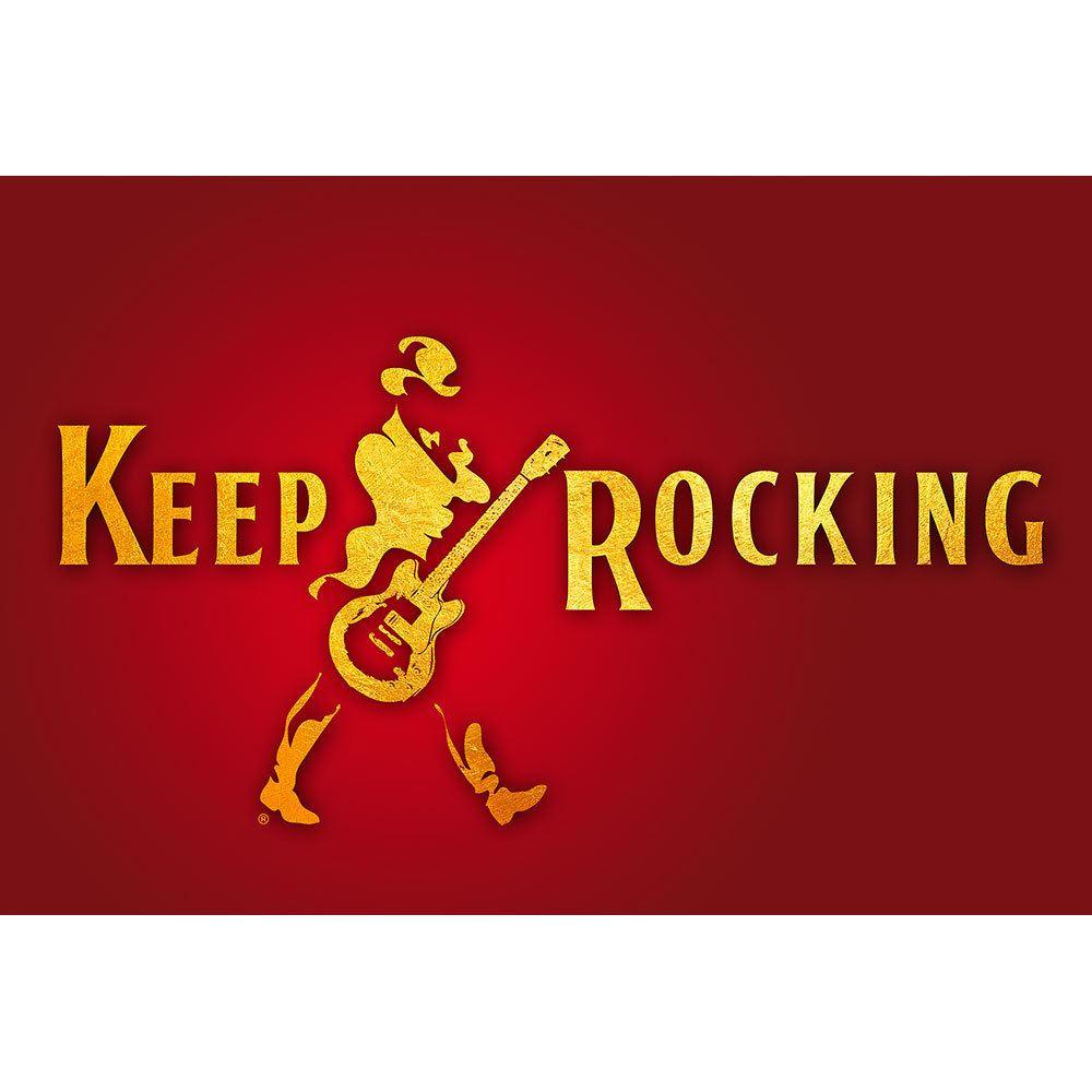 Placa Decorativa Planeta Decor Keep Rocking Vermelho