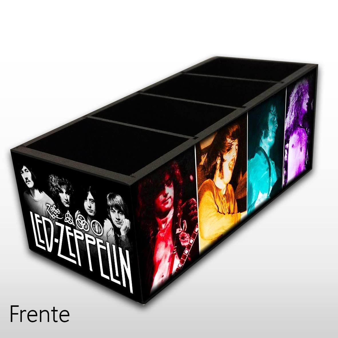 Led Zeppelin - Porta Controles em Madeira MDF - 4 Espaços - Mr. Rock
