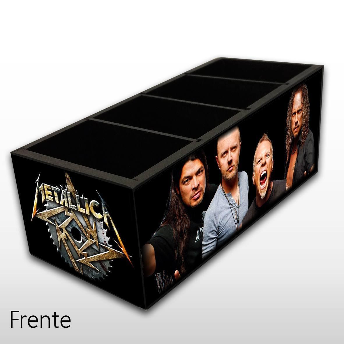 Metallica - Porta Controles em Madeira MDF - 4 Espaços - Mr. Rock