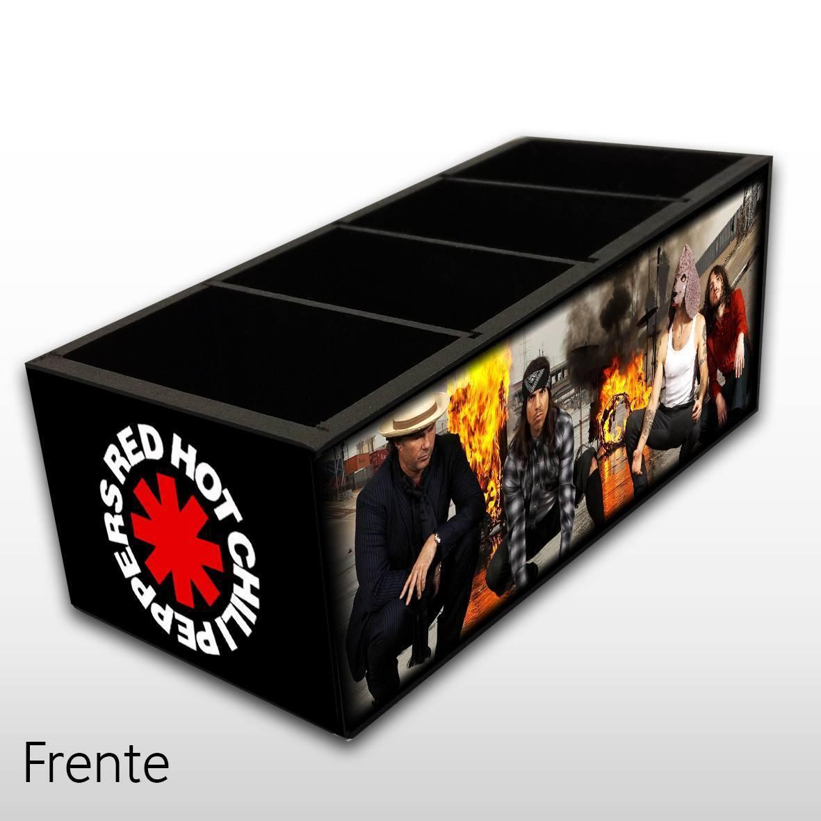 Red Hot Chili Peppers - Porta Controles em Madeira MDF - 4 Espaços - Mr. Rock