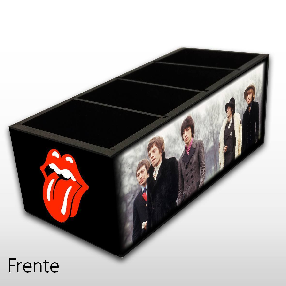 Rolling Stones - Porta Controles em Madeira MDF - 4 Espaços - Mr. Rock