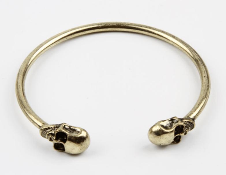 Pulseira Bracelete Skull Rock Ouro Velho - SkullAchando