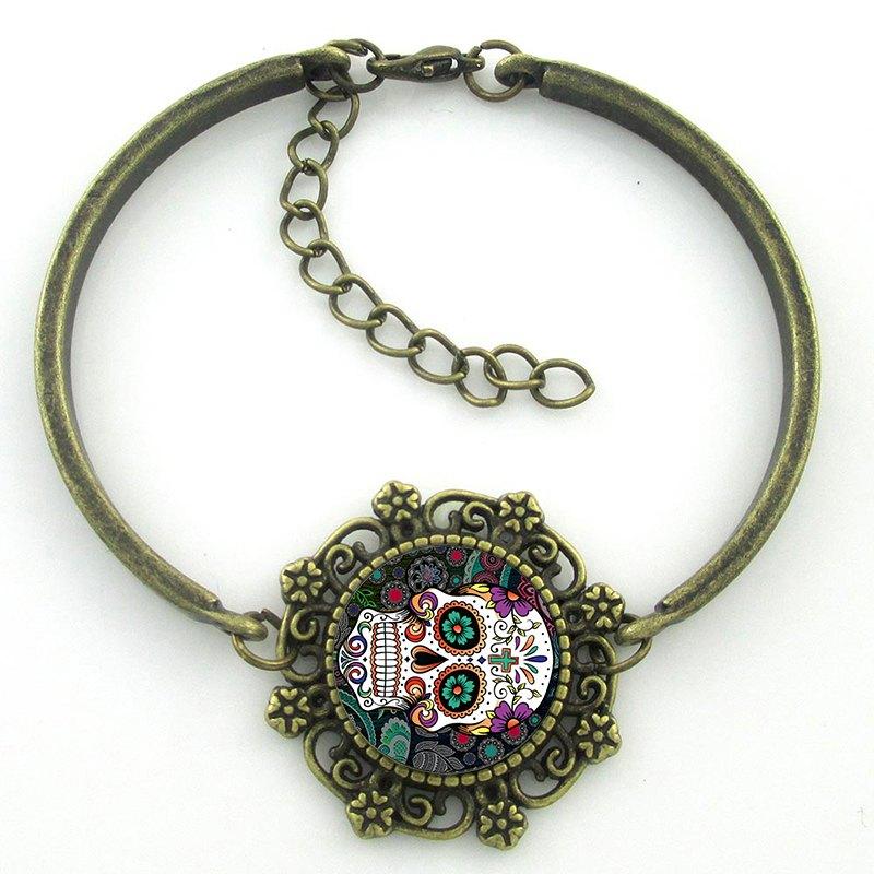 Pulseira Caveira Mexicana Colors Ouro Velho - SkullAchando