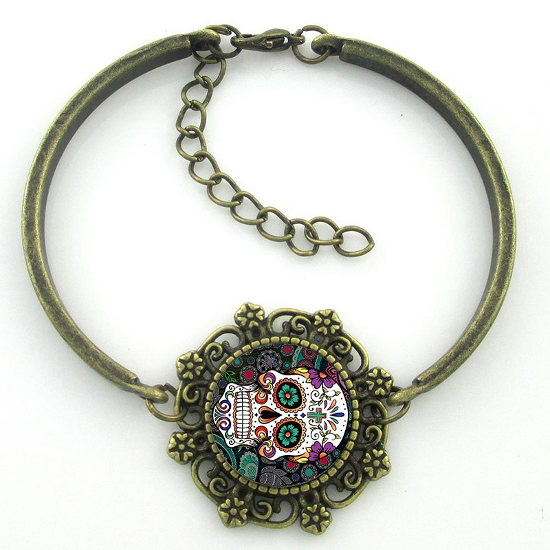 Pulseira Caveira Mexicana Colours Ouro Velho  - SkullAchando