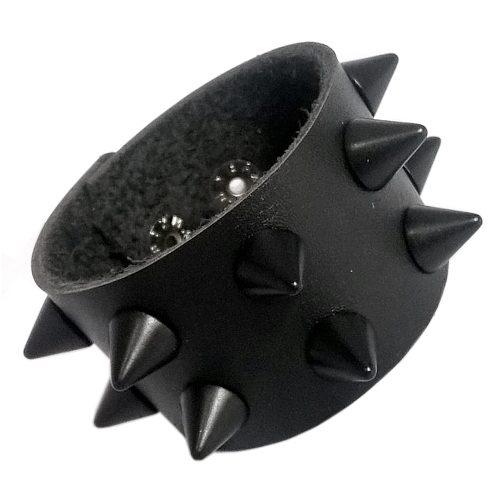Pulseira Couro Rock Punk Cones Preto - DEROCK Acessórios