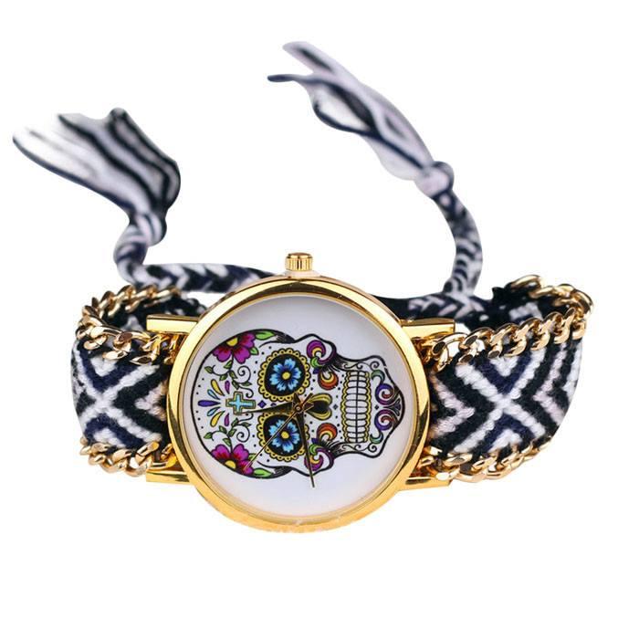 Relógio Skull Mexicana - Crochê P&B - SkullAchando