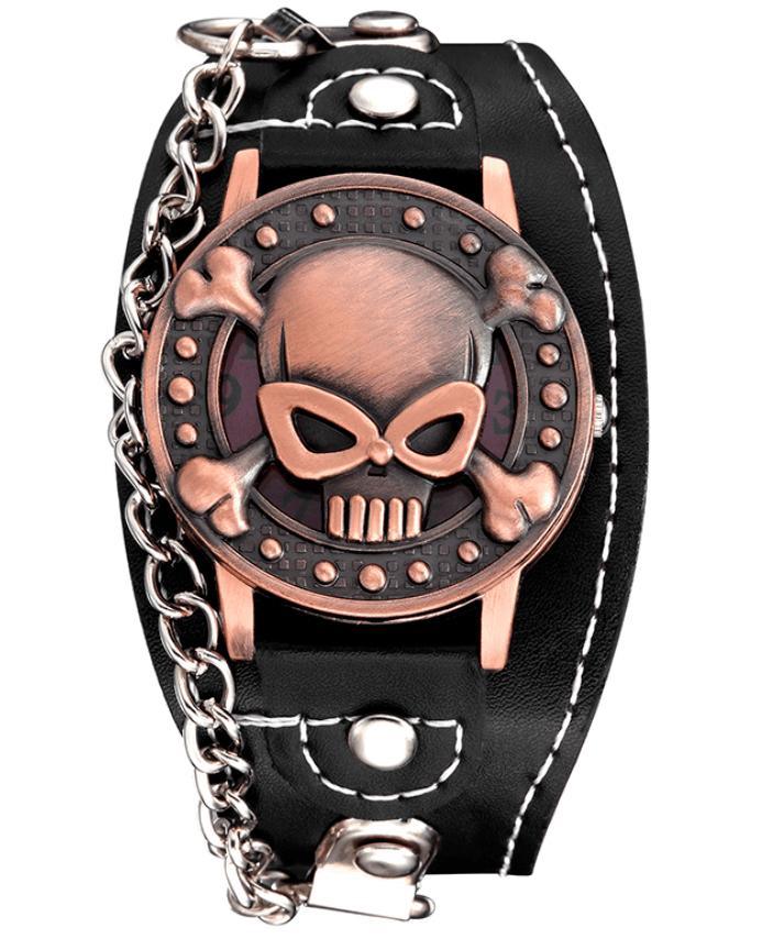 Relógio Skull Pulseira Corrente Cobre – SkullAchando
