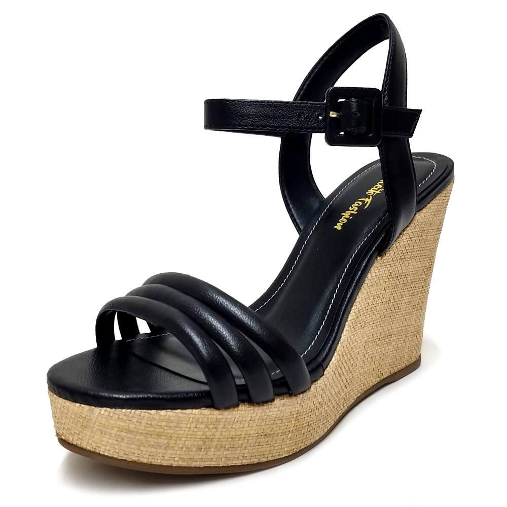 Sandália Plataforma Napa Preto Feminino