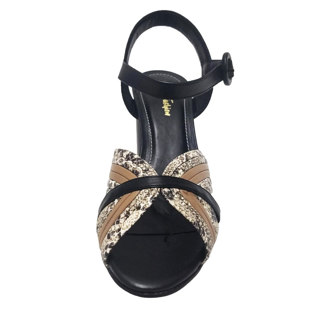 Sandália Salto Grosso Napa Preto e Cobra Feminino