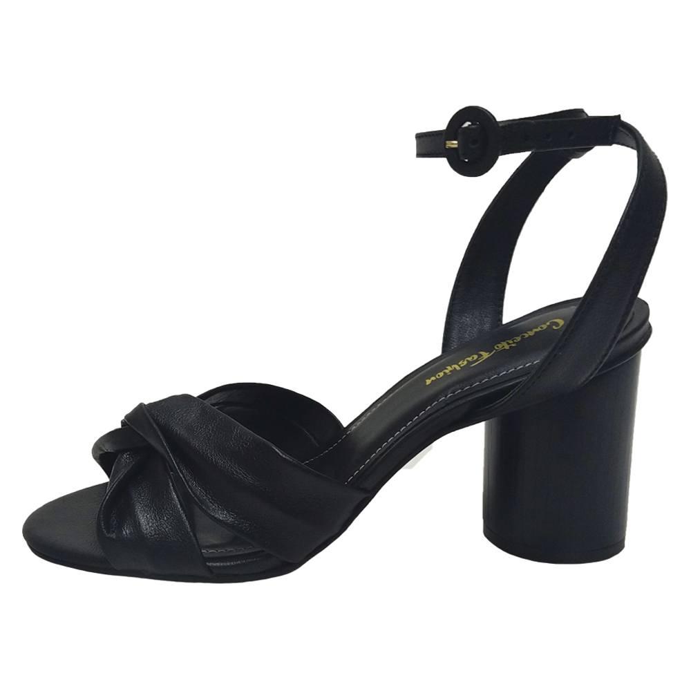 Sandália Salto Grosso Napa Preto Feminino