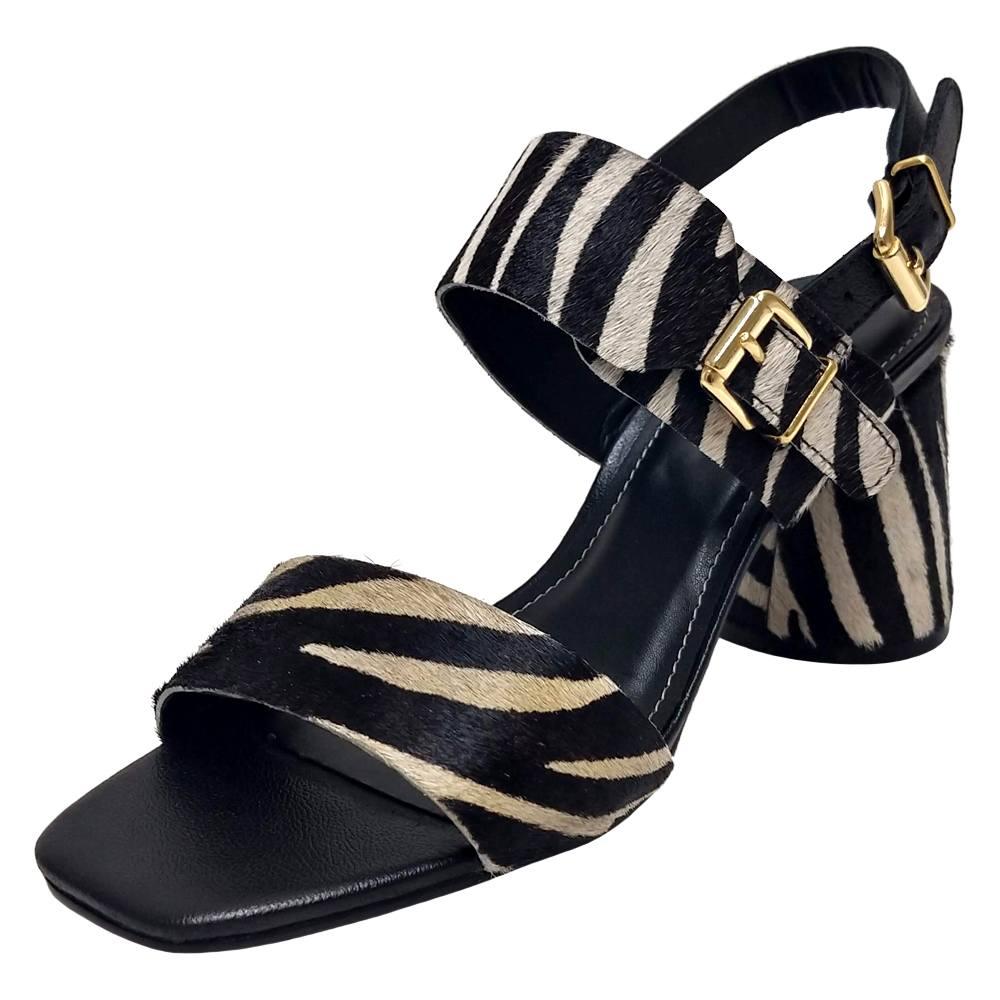 Sandália Salto Grosso Zebra Feminino