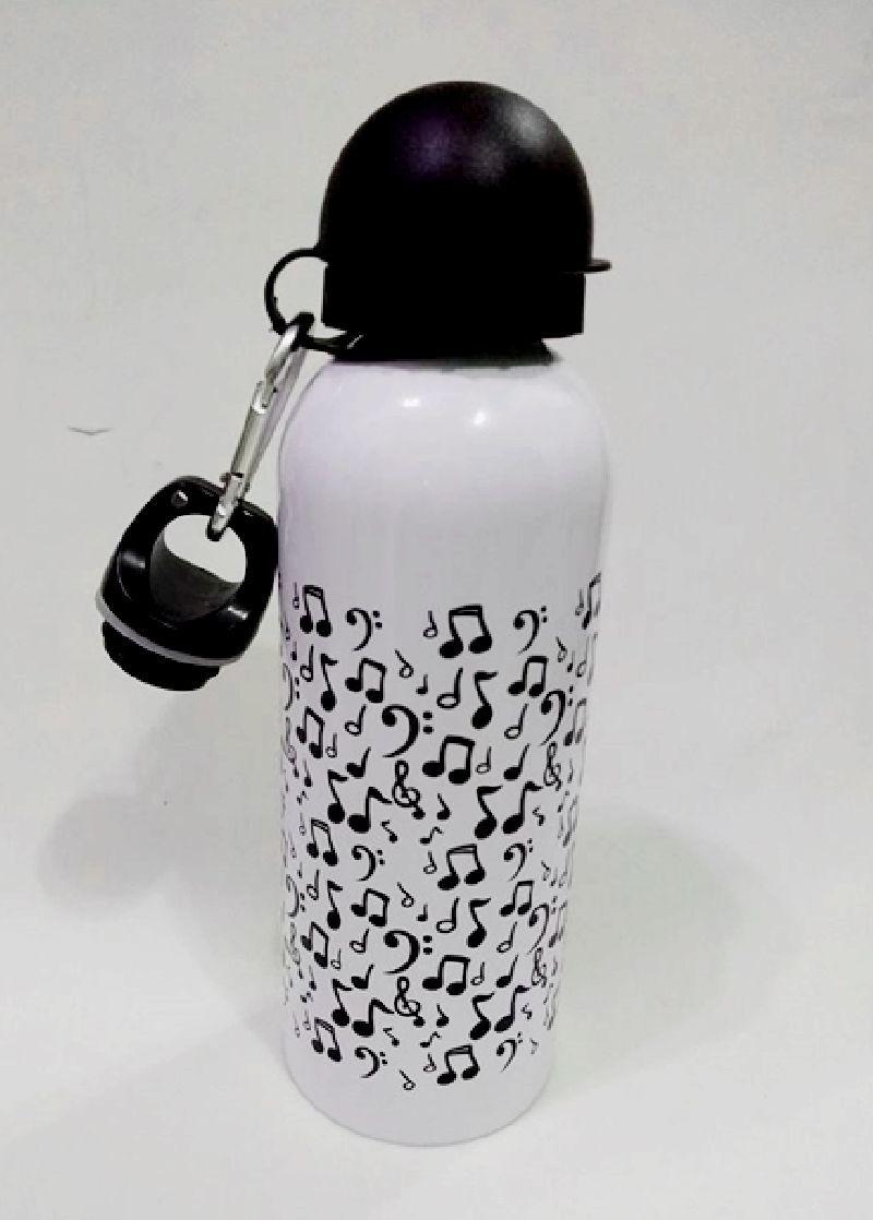Squeeze De Alumínio Personalizado Com Notas Musicais Branco