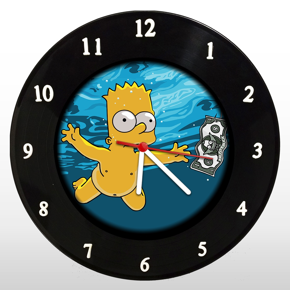 The Simpsons - Nevermind - Bart - Relógio de Parede em Disco de Vinil - Mr. Rock