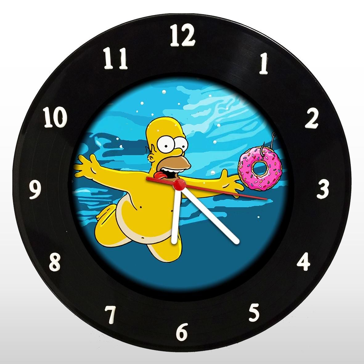 The Simpsons - Nevermind - Homer - Relógio de Parede em Disco de Vinil - Mr. Rock