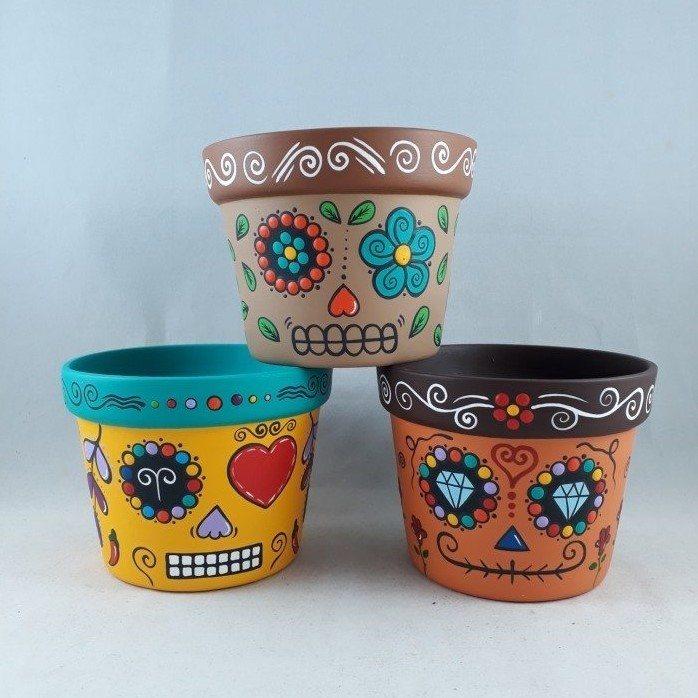 Trio de vasos grande  Caveira Mexicana