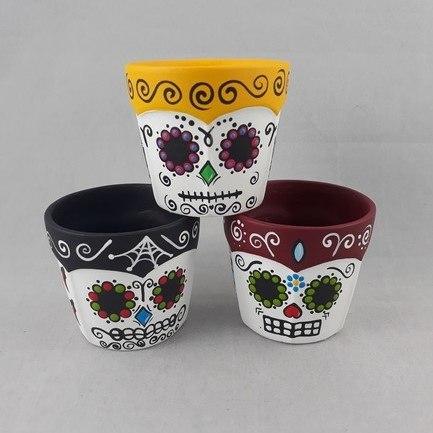 Trio de vasos pequeno Caveira mexicana