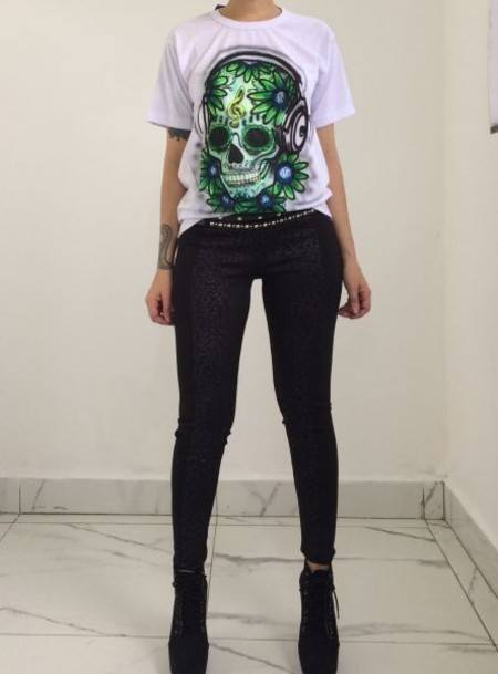 Tshirt Green Skull  - Psicose Store