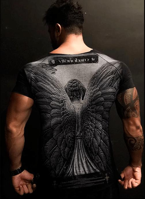Tshirt Masculina Rústica Anjo Black – Vitorio Baro