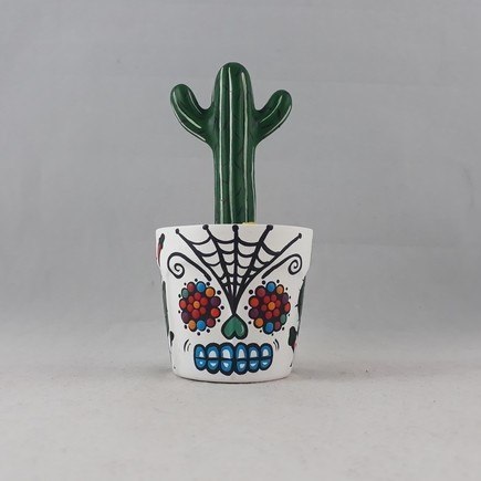 Vaso Caveira Mexicana com cacto em cerâmica