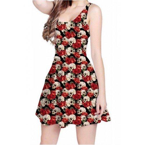 Vestido Caveira e Flores vermelho curto regata