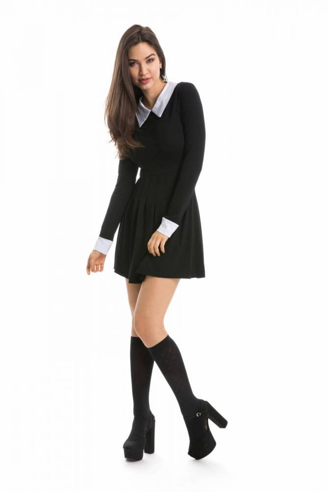 Vestido Doll Preto Manga Longa