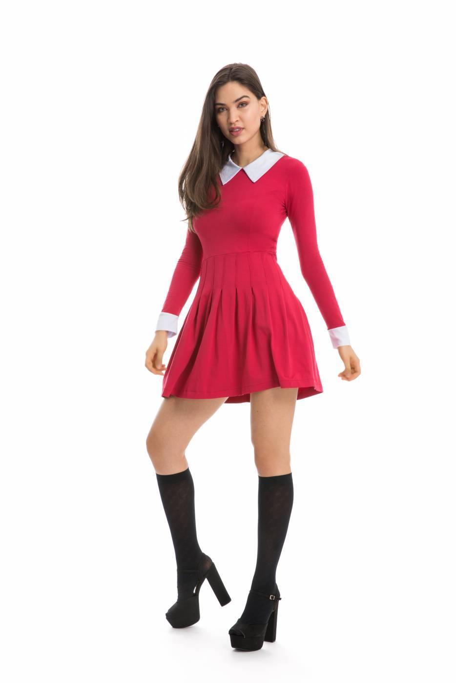 Vestido Sabrina Vermelho Manga Longa