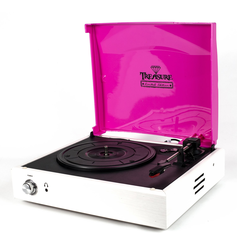 Vitrola Toca Discos Baú Treasure - Branco/Rosa com software de gravação para MP3 Echo Vintage