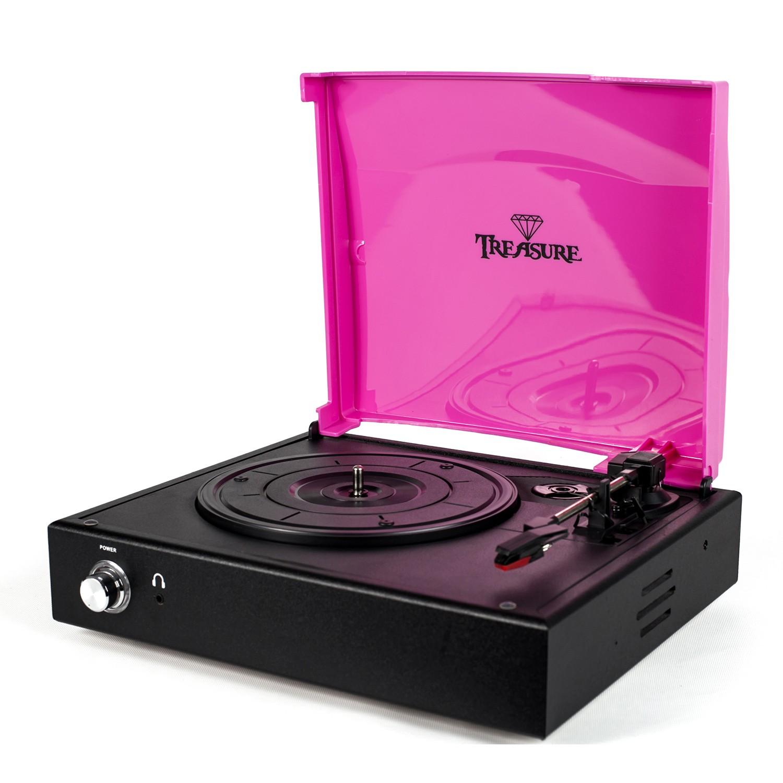 Vitrola Toca Discos Baú Treasure - Preto/Rosa com software de gravação para MP3 Echo Vintage