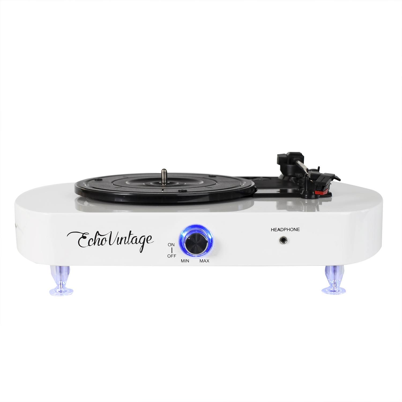 Vitrola Toca Discos Luminous - Branca com Iluminação de LED - Echo Vintage