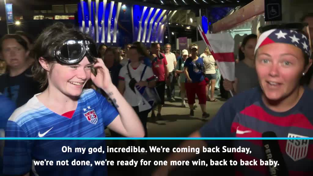 USA fans celebrate victory over England to reach final