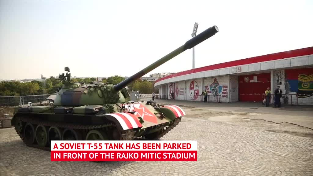 Red Star fans wheel out tank ahead of qualifier