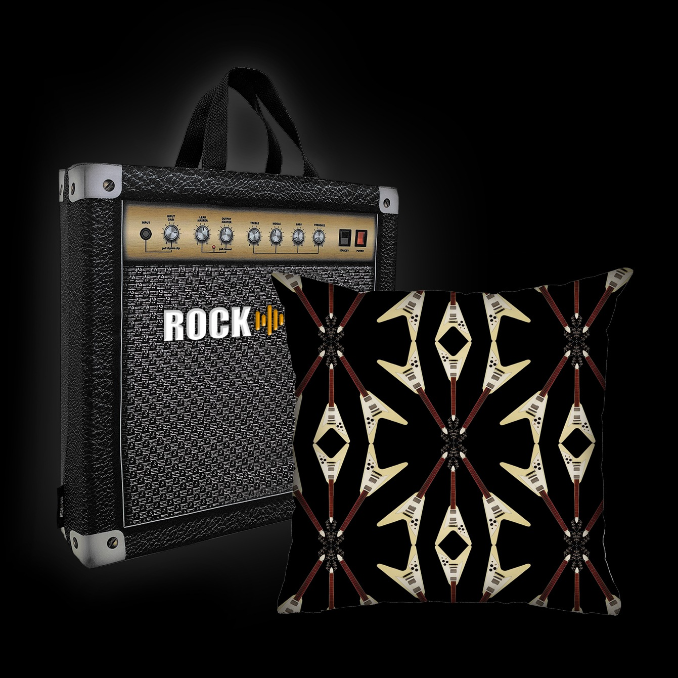 Almofada Rock Use - Flying V (Preto)