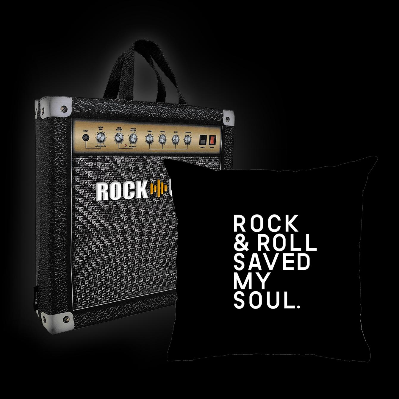 Almofada Rock Use - Rock & Roll saved my soul (Preto)