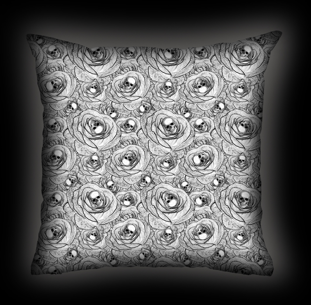 Almofada Rock Use - Skull & Roses - Branca