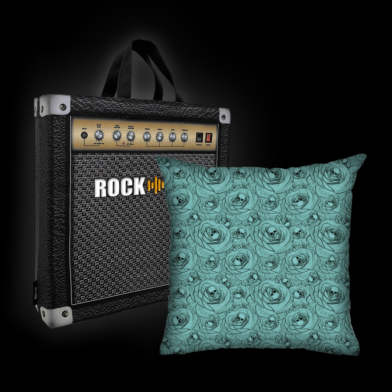 Almofada Rock Use - Skulls & Roses (Azul Tiffany)